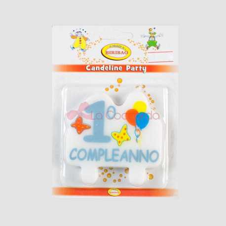 CANDELA PLACCA 1 COMPLEANNO CEL.