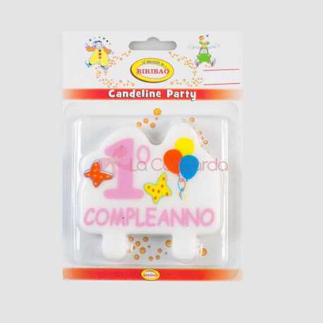 CAND.PLACCA 1 COMPLEANNO ROSA